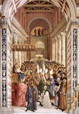 The Coronation of Enea Silvio Piccolomini as Pope Pius II - Pinturicchio.  1502-08.  Fresco.  Piccolomini Chapel, Siena Cathedral, Siena, Italy.