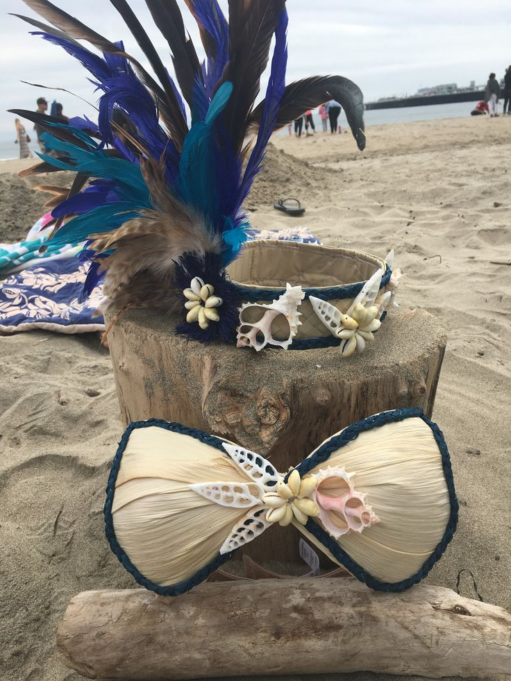 Feather and Shell Seaside Side Headpiece