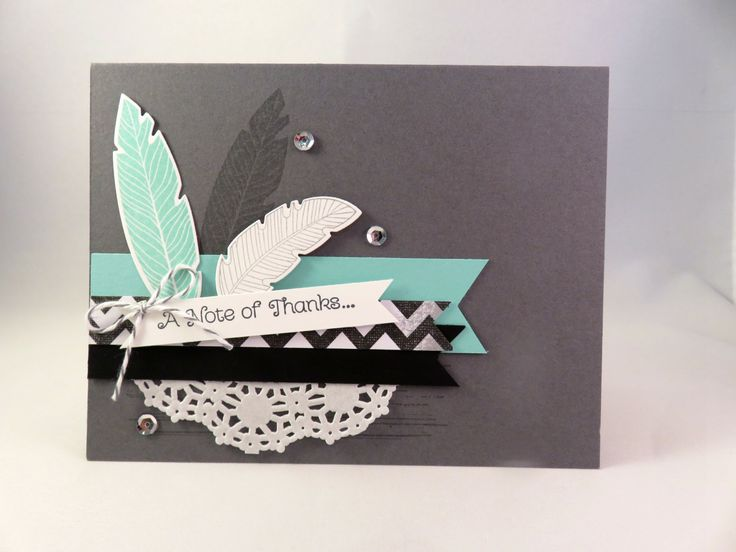 FEATHERS ARE TRENDY Hand stamped Note of Thanks Card by PrettyOnPaperShop on Etsy