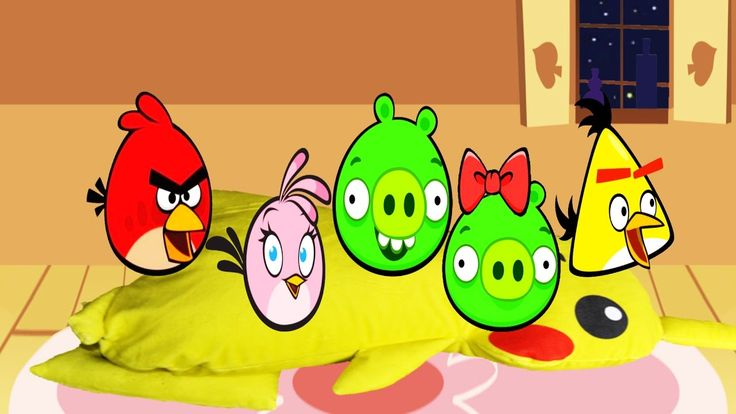 Angry Birds Jumping on the Bed, Nursery Rhymes, 4K video for children