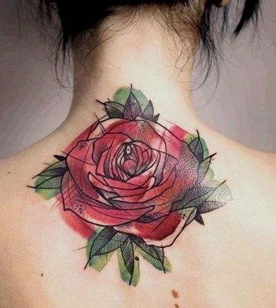 watercolor roses tattoos | Sketchy Rose 15 Examples of Awesome Watercolor Tattoo