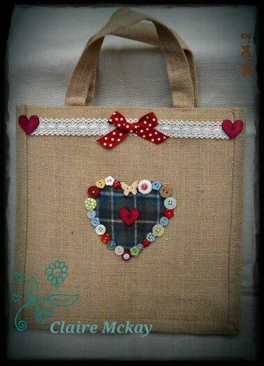 Jute Button heart bag.