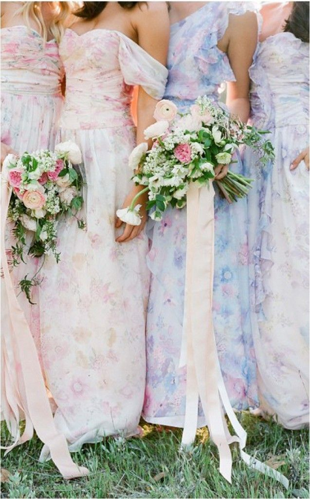 Why not indulge in playful spring time dramatics for your bridal party. With playful hues of pretty patterns for your bridesmaids, mixing up the variations with the same style dress, yet alter the color.