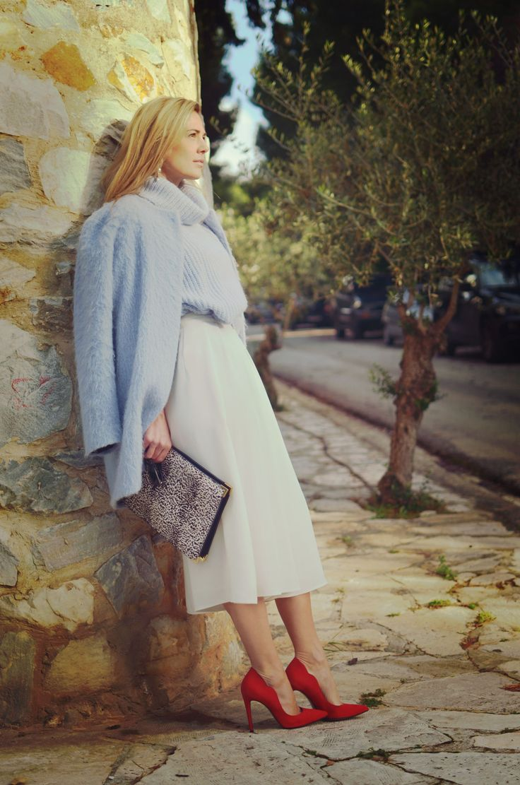 baby blue knit, coat, red pumps, wide white trousers