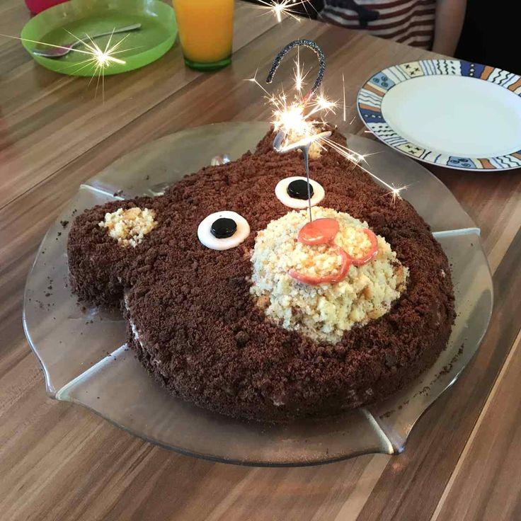 Rezept und Anleitung für einen Bärenkuchen zum Kindergeburtstag. Motivkuchen Bär …   – Rezepte