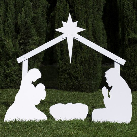 Silhouette White Outdoor Nativity Set - Holy Family Set by Outdoor Nativity Store