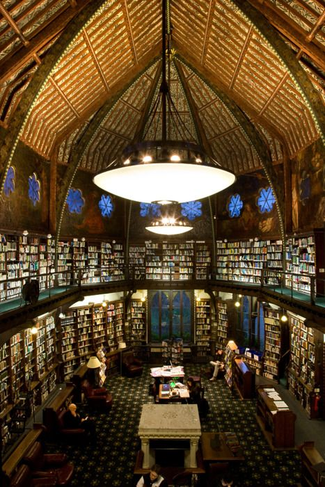 """The Oxford Union Library, Oxford, United Kingdom: On the walls are Pre-Raphaelite murals, painted by Dante Gabriel Rossetti, William Morris, and Edward Burne-Jones. It also has a unique clerestory (Wikipedia will tell you all about it here). Suggested by Pretty Mind Clutter, who not only has excellent tastes in library, but a good knowledge of them!"""