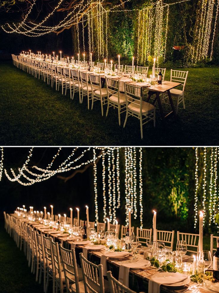Kyle & Monique's Night-time Wedding | Fairy light canopy and mainly candle wedding table decor in this beautiful open air garden setting | Runaway Romance
