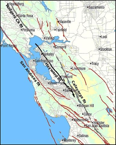 Hayward fault map - The Hayward fault (black) and its neighbors (gray). Click for full size. US Geological Survey image.