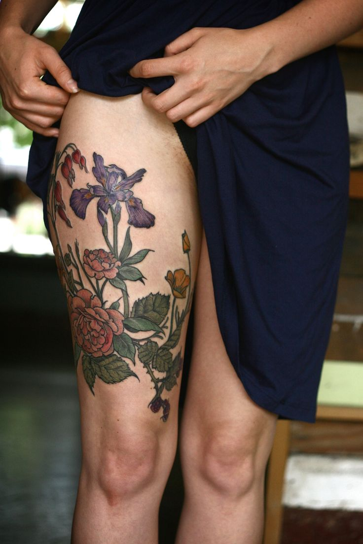 Wonderland Tattoos - alicecarrier: finished up this brambly thigh...