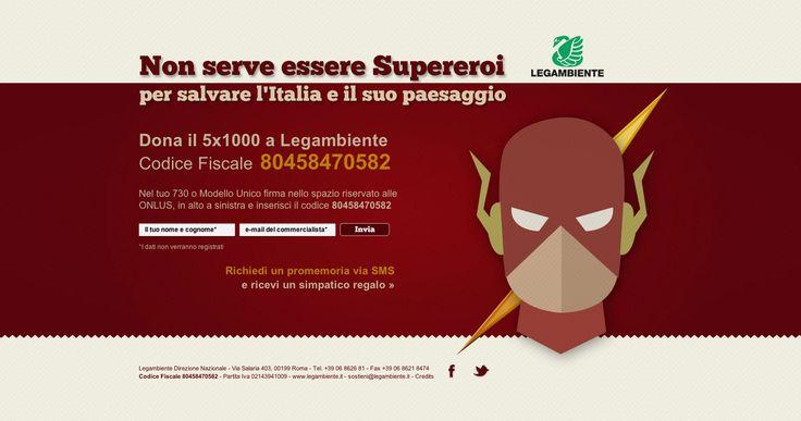 Legambiente ha utilizzato Flash e Superman in una campagna pubblicitaria che ha lo scopo di promuovere la destinazione del 5x1000 all'ass...