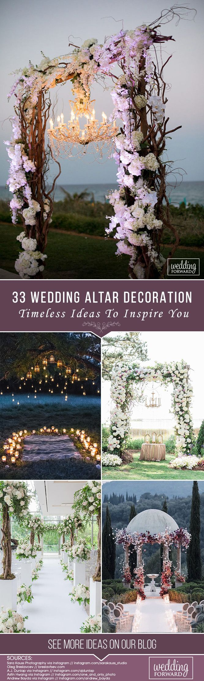 33 Timeless Wedding Altar Decoration Ideas ❤ We've rounded up some of the most original wedding altar decoration ideas in different styles. See our gallery for more inspiration! See more: http://www.weddingforward.com/wedding-altar-decoration/ #wedding #decor #bridaldecorations #weddingdecorations #weddingceremony #weddingaltardecoration