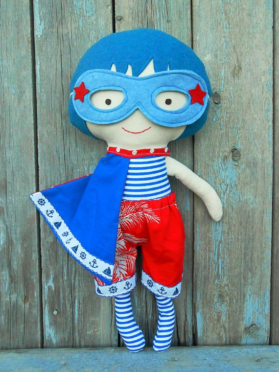 RAGDOLL, fabric doll, nautical doll, superhero doll, dolls, clothdoll, boydoll, doll for boys, sailor doll, dress up doll, softdoll