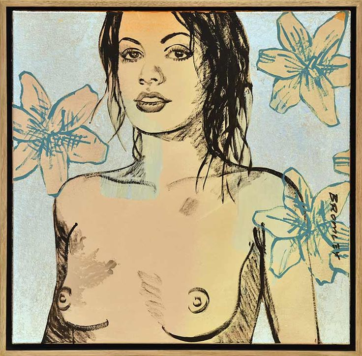 David Bromley - Nude Art - Flowers - Silver Leaf