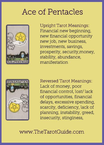 Ace of Pentacles Tarot Flashcard showing the best keyword meanings for the upright & reversed card, free online Minor Arcana flashcards, made by professional psychic Tarot reader, The Tarot Guide, the easy way to learn how to accurately read Tarot.