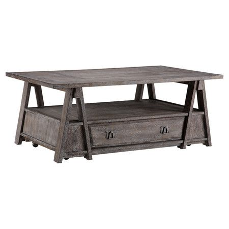 One Drawer Reclaimed Wood Coffee Table In Distressed Gray With Bottom  Casters And An Open