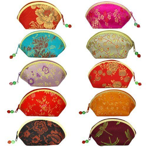 Silk Embroidered Brocade Oriental Fan Zipper Jewelry Coin Pouch Wallet Set of 10 - Various Colors Dahlia. $23.45. Save 50%!