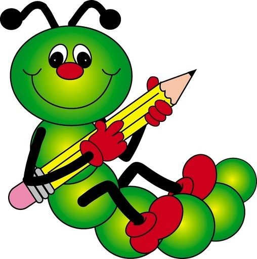 CATERPILLAR WITH PENCIL CLIP ART