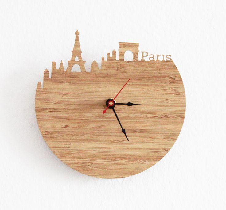 Clock - Paris - Eiffel Tower, Arc de Triomphe, Wall Clock. $39.99, via Etsy.
