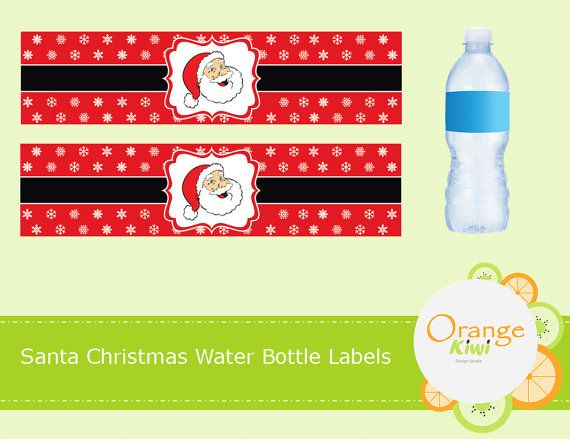 Santa Christmas Water Bottle Labels Waterproof by OrangeKiwiDesign