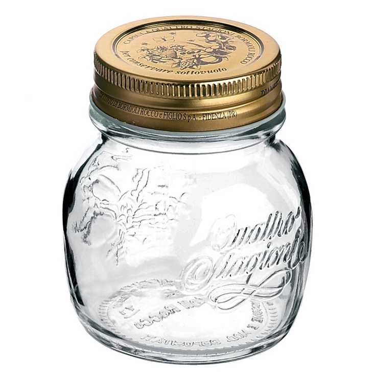 """Quattro Stagioni"" canning jars & bottles. Made in Italy by Bormioli Rocco. (8.5 Oz) $6"
