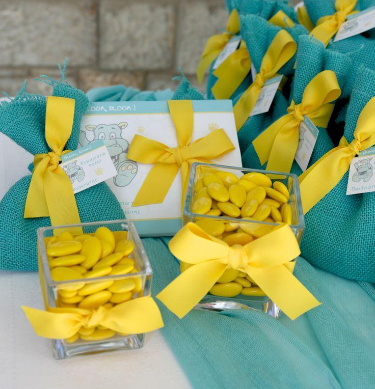 #μπομπονιερες βαπτισης πουγκι βεραμαν με μισό φιόγκο κίτρινο και ευχαριστήρια καρτελάκι ιπποπόταμο