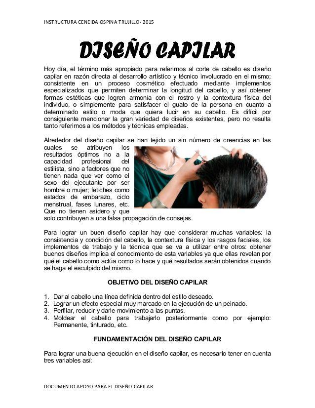 INSTRUCTURA CENEIDA OSPINA TRUJILLO- 2015  Hoy día, el término más apropiado para referirnos al corte de cabello es diseño  ...