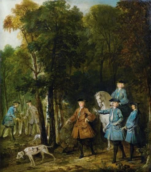 Louis XV holding a hunting dog on a leash by Jean-Baptiste Oudry