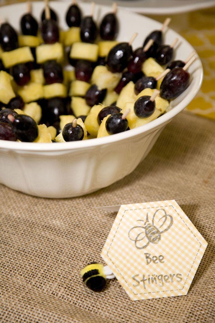 Bee stinger fruit kabobs (dark purple grapes and pineapple) #Bumblebeebabyshowerideas #repin