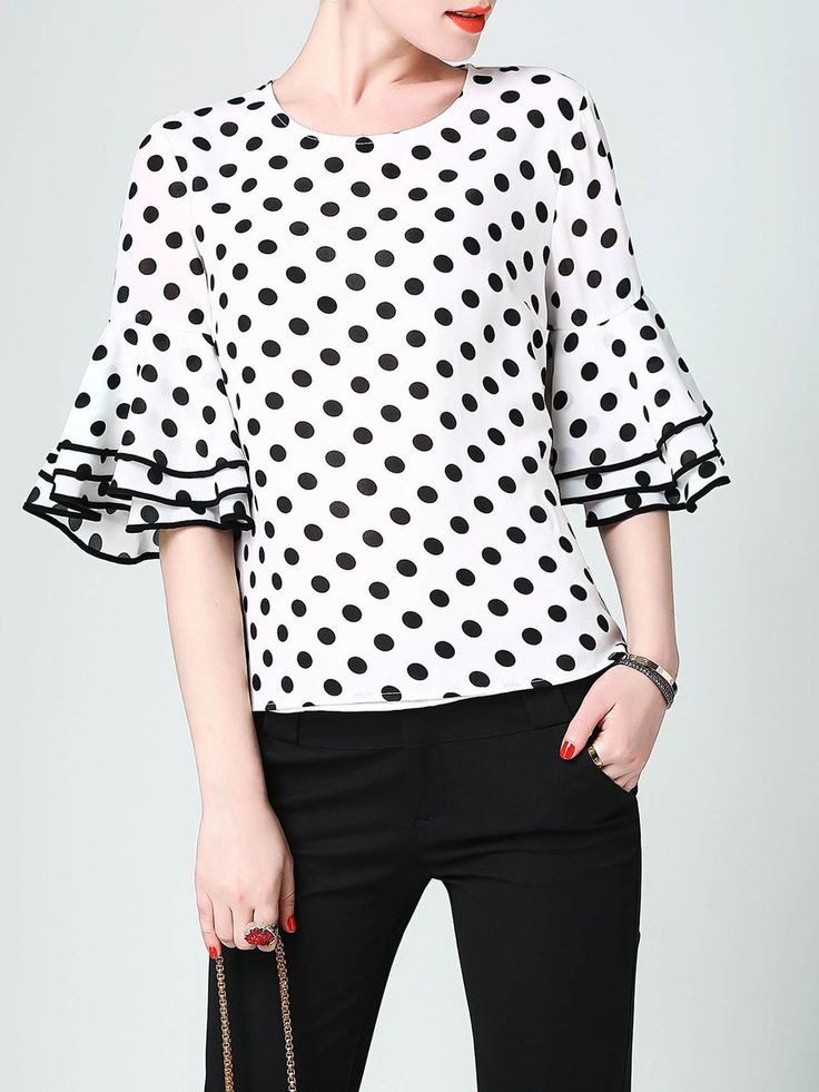 #AdoreWe #StyleWe Blouses❤️Designer DDER White H-line Polka Dots Bell Sleeve Casual Printed Blouse - AdoreWe.com