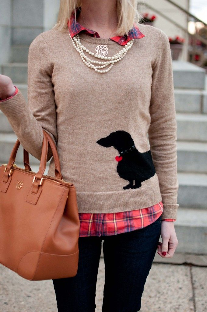 Adorable layers: plaid. doxie sweater,and pearls