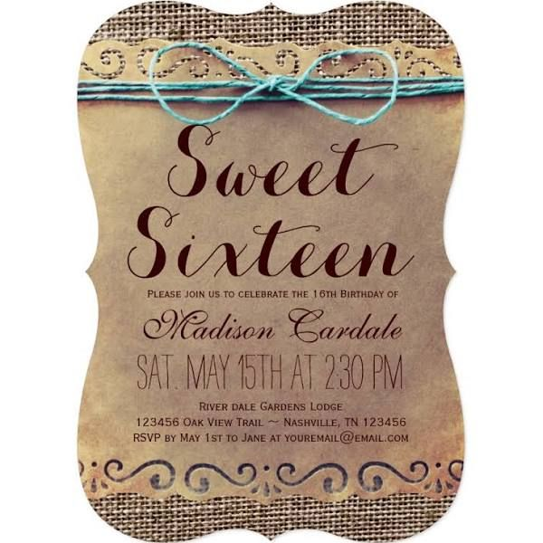 country invitations sweet 16