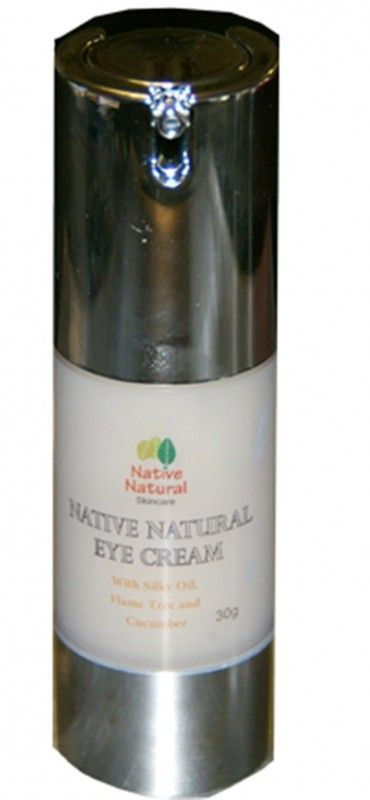"Native Natural Eye Cream Gel – Native Natural Skincare – Reduces the appearance of dark eyes and puffiness. ""Silky oil is closely related to Lemongrass and is native to Australia, growing in the Central Northern, Barkly Tablelands, and Victoria River to the Gulf regions of the Northern Territory.  The plant was traditionally used by indigenous people for sore eyes."" Containing phytosterols, cucumber oil provides a fresh aroma whilst restoring moisture and... #nativenaturaleyecreamgel"