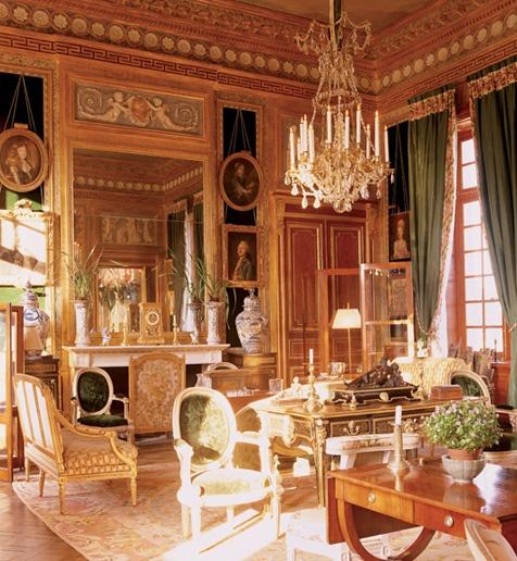 Living room of Paris based designer, Jacques Garcia, in Chateou du Champ de Bataille