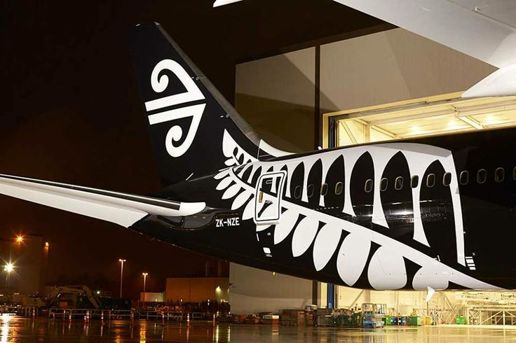 Air New Zealand Boeing 787-9 tail with the Koru and Fern. (Nighttime Shot)