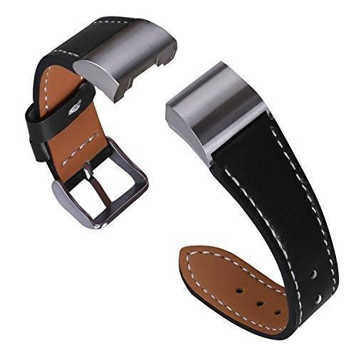 Bands for Fitbit Charge 2 Genuine Leather Replacement Wristband with Metal Connectors for Fitbit Charge 2 Fitness Band Classic Black Large