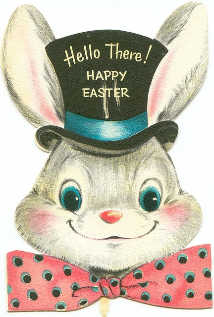 Easter Bunny in Top Hat #Easter # Vintage