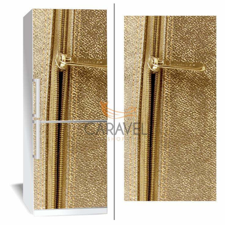 Αυτοκόλλητο Ψυγείου Χρυσό δέρμα με φερμουάρ