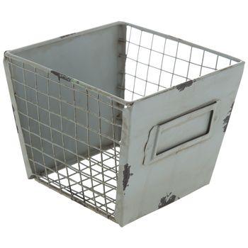 Rustic Green Iron Storage Basket
