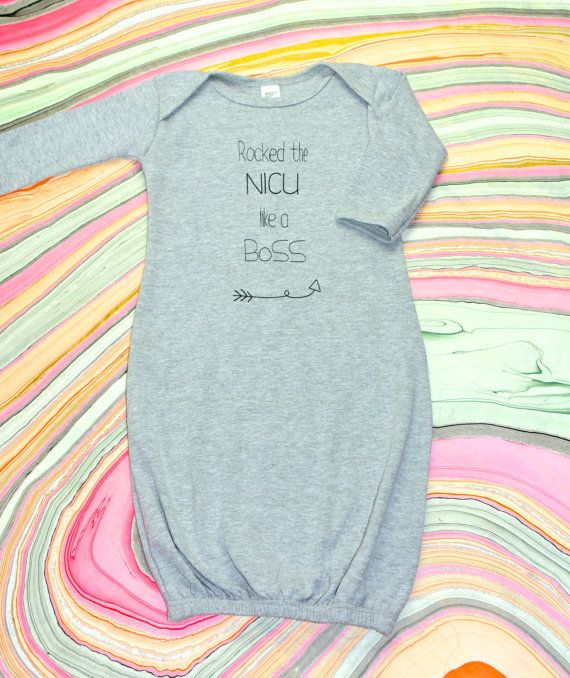 ROCKED the NICU like a BoSS Infant Gown IVF Premie by Little17Shop