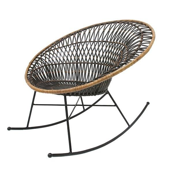 Rattan rocking chair in black + natural