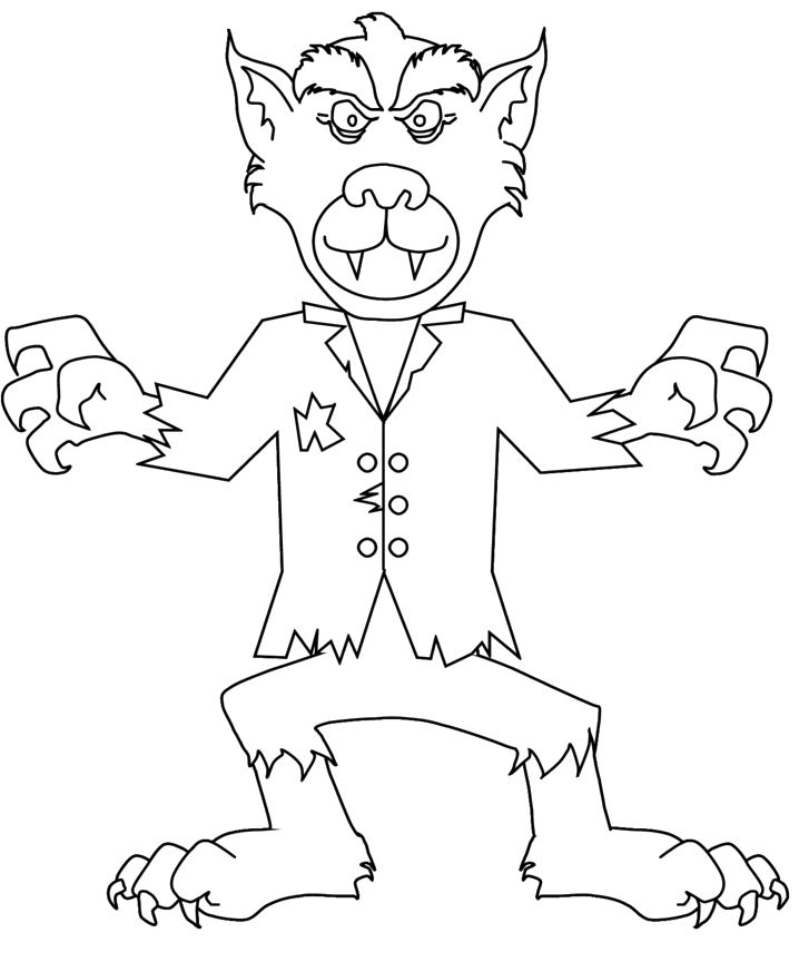 werewolf zombie coloring page halloween