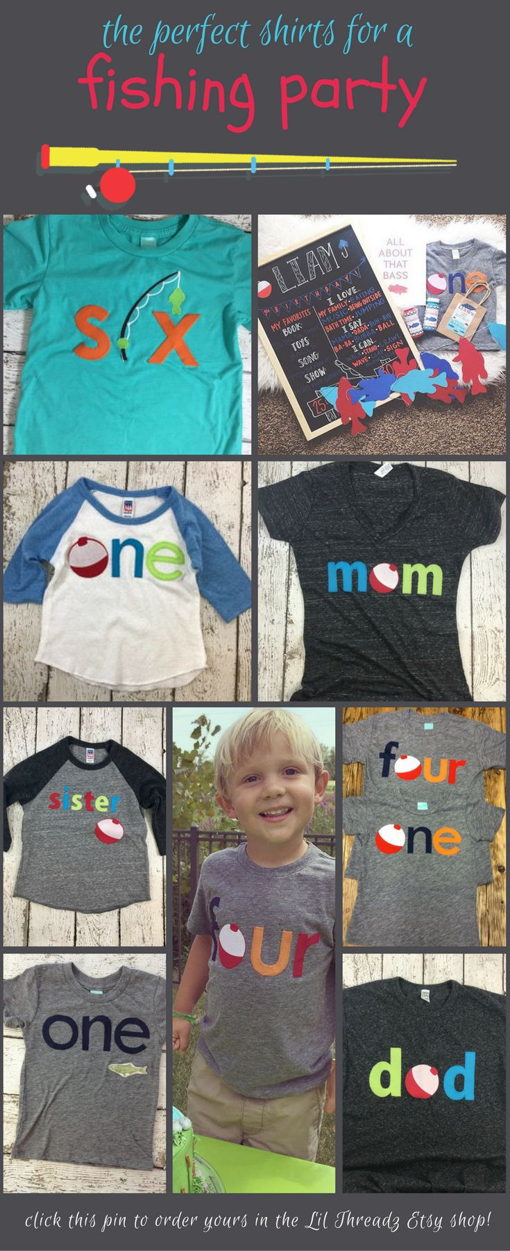 Lil Threadz fishing birthday shirts can be customized completely to fit your fishing birthday theme. Get one for the birthday boy or girl or get a bunch for the whole family. Come browse the selections in our Etsy shop, or request a completely custom design.