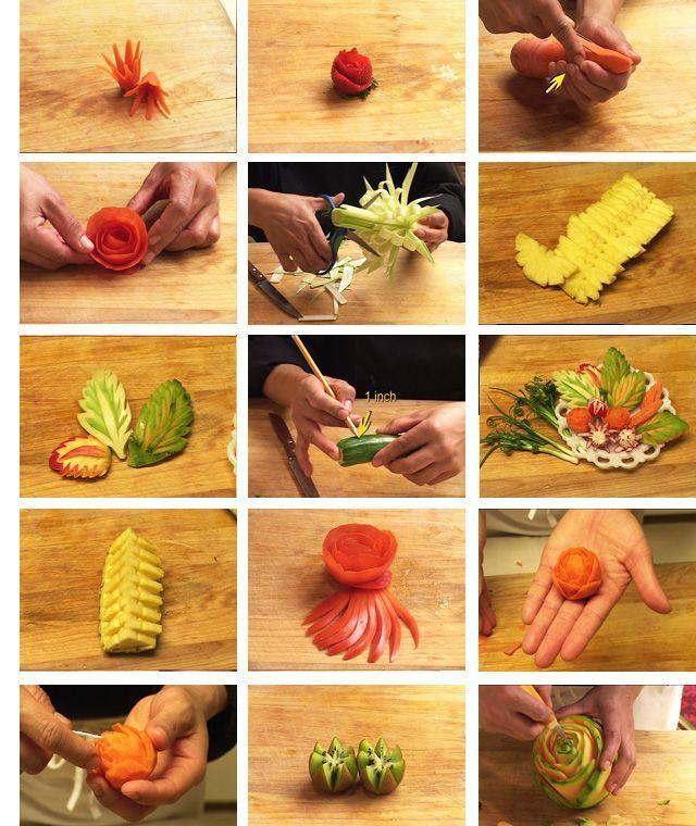 пищу украшения из овощей дома пошагово фото крутится, движение через