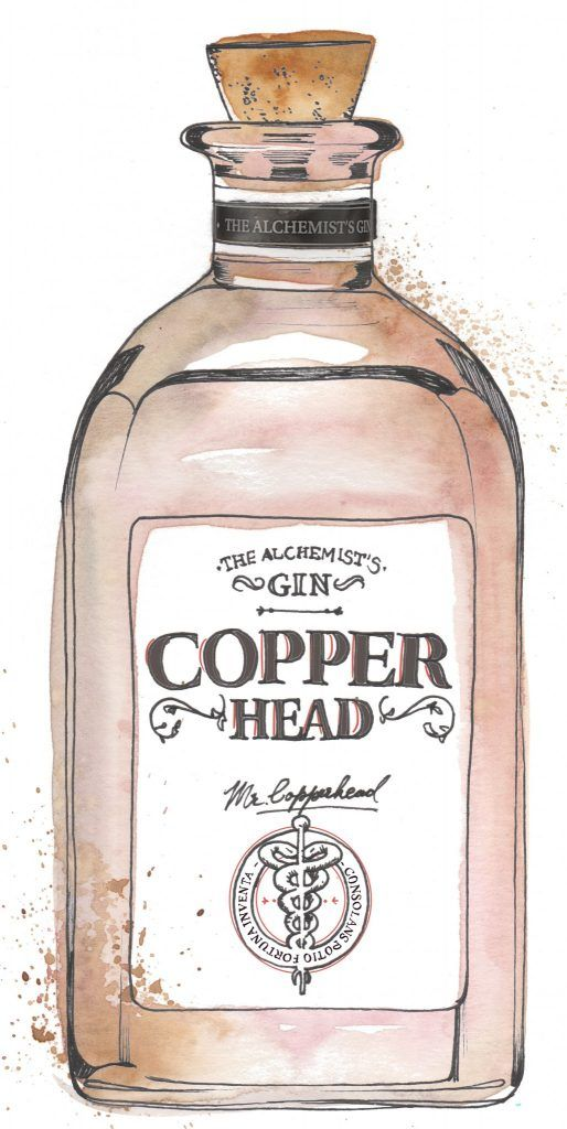 Copper Head Gin Bottle Watercolour Illustration. Click the 'visit' link to commission your own choice of gin illustrations