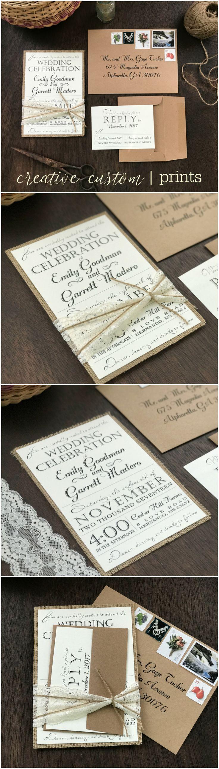 handwrite or print wedding invitation envelopes%0A Rustic Wedding Invitation Set Vintage Wedding Invitation Lace Wedding  Invitation Burlap Wedding Invitation