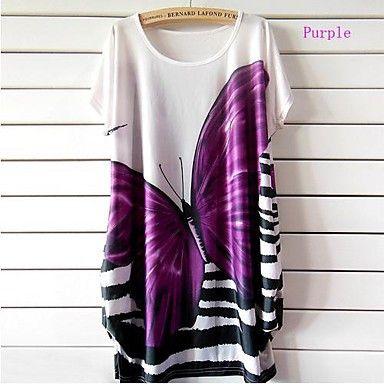 Womens Summer Purple Butterfly Print Dress