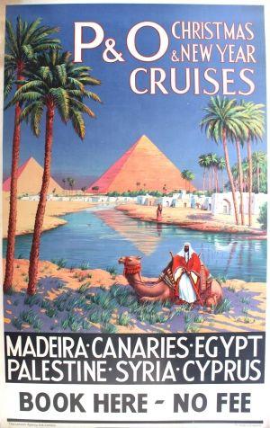 P & O Cruises Christmas New Year Egypt Pyramids, 1920s - original vintage P&O poster by James Creig listed on AntikBar.co.uk