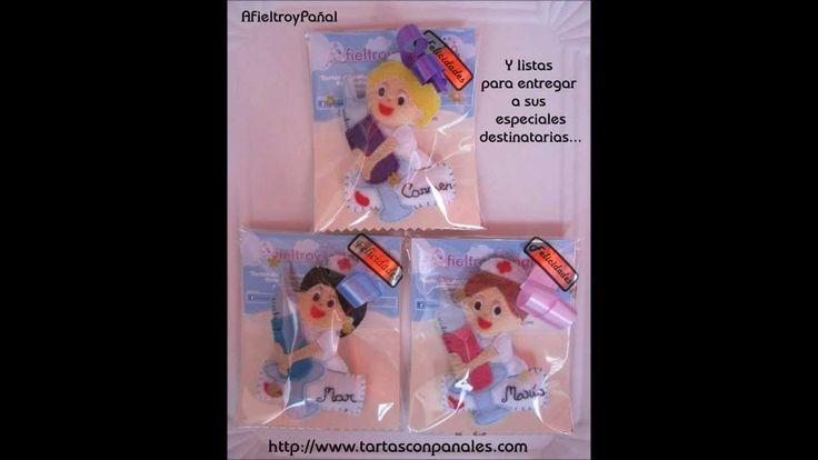 """Video paso a paso de uno de nuestros artículos """"Broches Enfermeras"""". Tartas con Pañales. AfieltroyPañal. Online (Málaga) #videos #pasoapaso #enfermeras #fieltro #broche #hechoamano"""