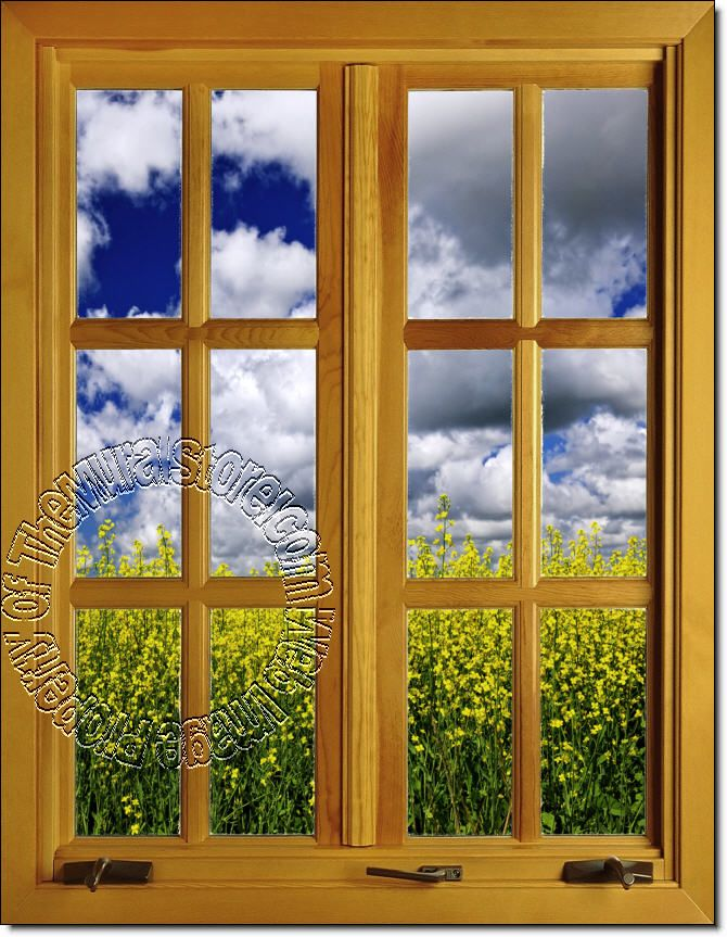 Flower Field Window 2 (Closed) Piece Peel U0026 Stick Wall Mural Part 95